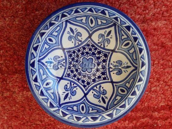 Plato de cer mica hecho y pintado a mano en marruecos for Platos de ceramica