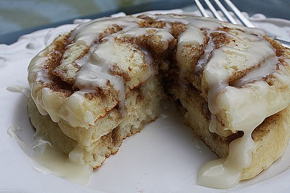 """""""Cinnamon roll pancakes!  Looks like a fun Christmas breakfast."""" Christmas? I'm thinking in the morning!!"""