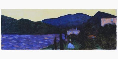 Wassily Kandinsky, Mountain Landscape with Lake, ca. 1902 on ArtStack #wassily-kandinsky-vasilii-vasil-ievich-kandinskii #art