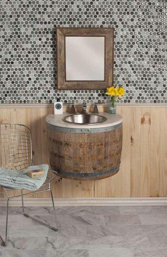 diy möbel badezimmer möbel holzfass waschbecken | selber bauen