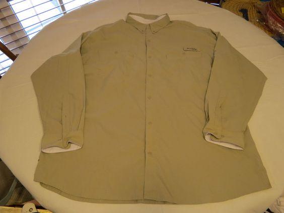 Mens Columbia Sportswear Company Khaki XXL long sleeve button up shirt EUC…