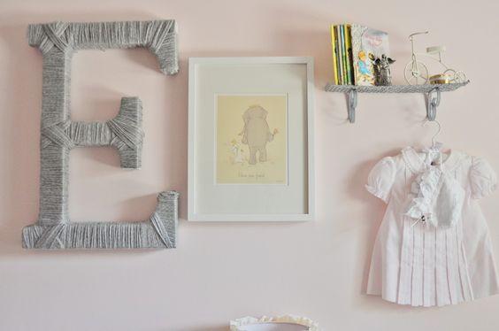 Our favorite kind of nursery gallery wall: sentimental + fun art + texture. Adorable! #gallerywall #nursery