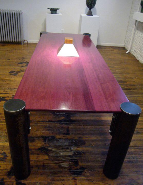 . Purple Heart Dining Table   Tubular steel