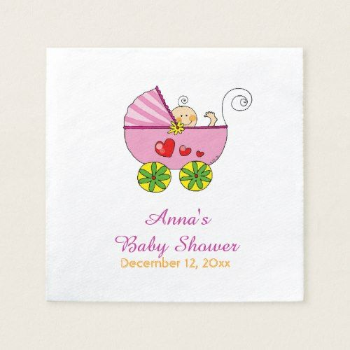 Cute Baby Girl Pink Pram Baby Shower Paper Napkin Baby Shower Napkins Twins Baby Shower Baby Shower Paper