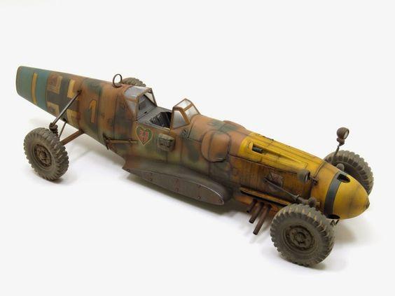 """Dieselpunk racer vehicle. Titled: Messerschmitt Bf 109 G-6 """"Creeping Death"""" by Hakan Guney. #racer #dieselpunk"""