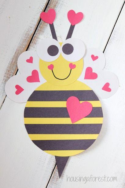 Schön Heart Bee ~ Cute Valentine Craft For Kids