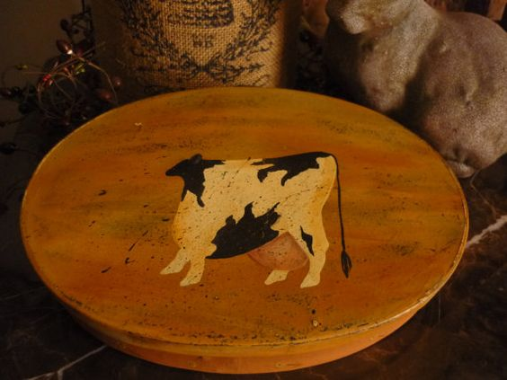 Distressed mache oval box s/h included to Canada by ThreeCatFarm