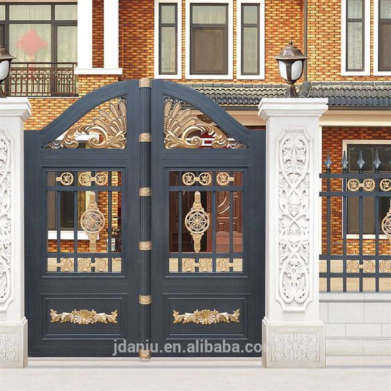 Residental new house modern decorative aluminum main gate designs. Indian house main gate designs with Aluminum Gate model AJLY 602