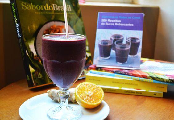 Suco purificação: laranja + açaí + gengibre. Sabor dos Vales:  http://www.sabordosvales.com.br/receita_completa.php?idReceita=49#sthash.HGUEylPX.dpbs