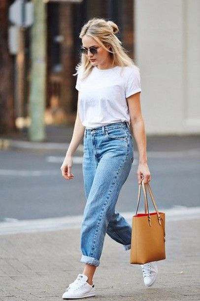 Jeans: bag, sunglasses, le fashion image, blogger, t-shirt, white sneakers, white top, casual, street, style, outfit, bucket bag, leather, red, camel, blonde hair, boyfriend jeans - Wheretoget