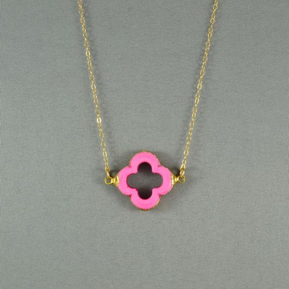 Pink Quatrefoil Clover Necklace, 24K Gold Edged, 14K Gold Filled Chain, Modern, Feminine, Eye Catching, Everyday Wear Jewelry