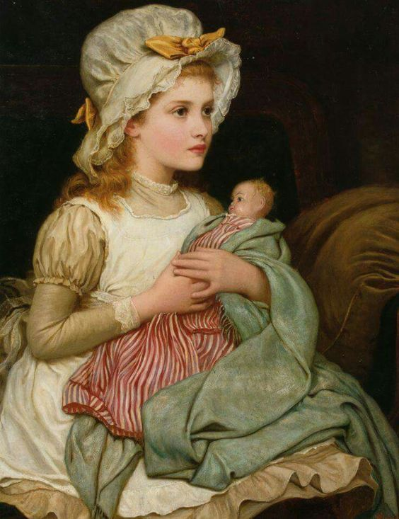 Kate Perugini, A young girl with her doll, 1876, private collection, oil on canvas, cm 81.3x58.4