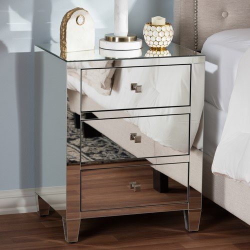 Baxton Studio Rosalind Hollywood Regency Glamour Style Mirrored 3 Drawer Nightstand With Images Mirrored Nightstand Furniture Mirrored Furniture