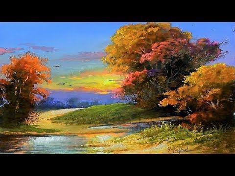 Gouache Sunset Landscape Painting By Yasser Fayad Youtube Sunset Landscape Painting Nature Paintings Acrylic Landscape Paintings