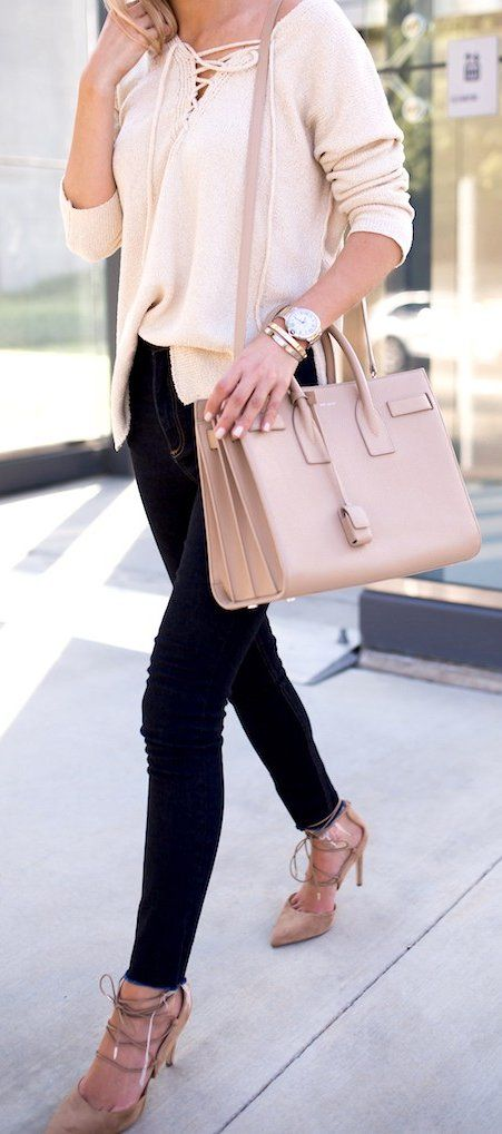 Pink Laced Up Blouse // Black Skinny Jeans // Laced Up Pumps