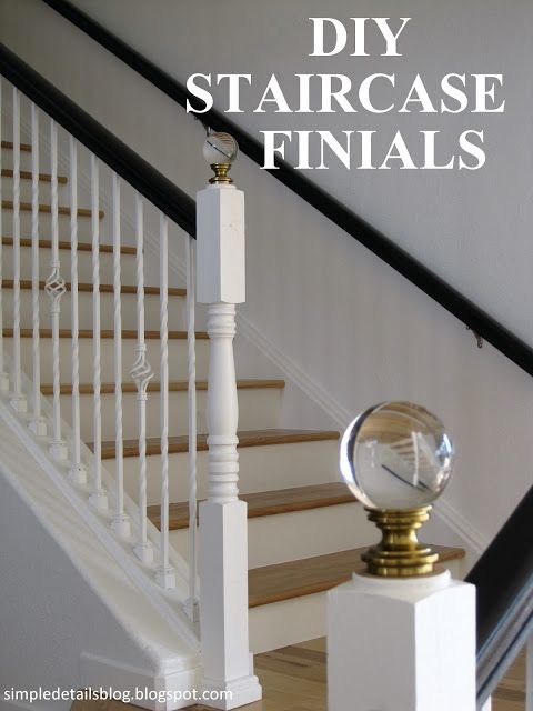diy staircase finials simple details home of the. Black Bedroom Furniture Sets. Home Design Ideas