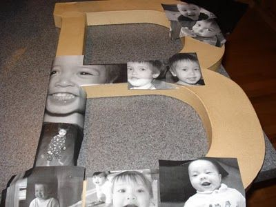 tutorial for Mod Podge photo letter: Photo Collage, Mod Podge Letter, Mod Podge Picture, Kids Room, Podge Photo, Photo Letter, Modge Podge Letter, Picture Collage