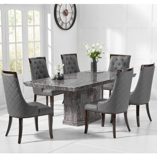 Hamlet Marble Small Dining Table In Grey With Four Tulip Chairs Furniture In Fashion Dining Table Marble Marble Dining Table Set Gray Dining Chairs