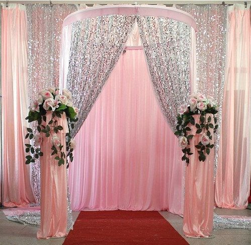 5yard Wholesale 150cm Width Thick Sequin Fabric Mesh Back Fashion Wedding Decoration Mate Quinceanera Decorations Wedding Decorations Wedding Party Decorations