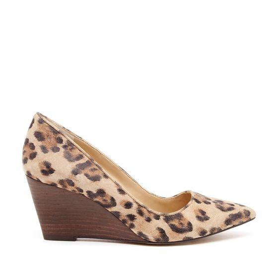 Leopard mid heel wedge
