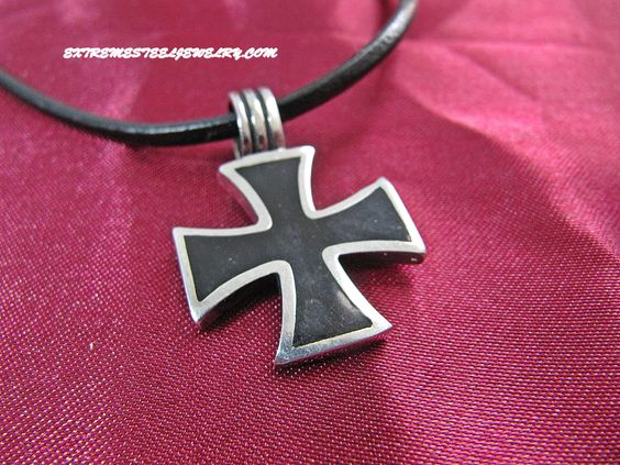 316L Stainless Steel Pendant With Black Iron Cross