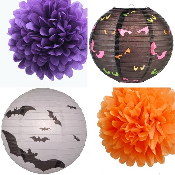 Halloween paper decorations combo idea that you can use to decorate your Halloween party