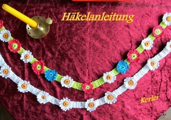 Häkelanleitungen - Häkelanleitung , Blumen, Tischband,Haarband häkeln - ein…