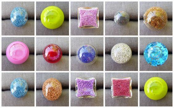 TUTO détaillé : bagues avec dôme en verre (remplies de micro billes ou de liquide)