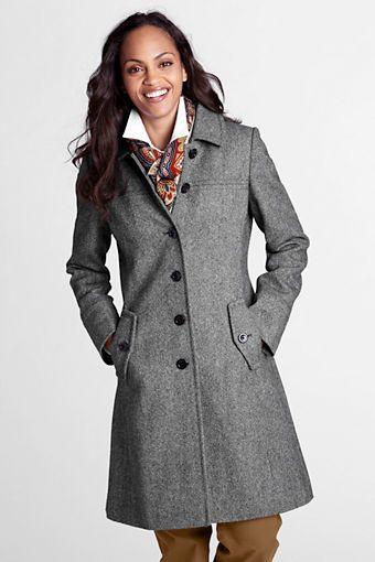 Women's Pattern Wool Swing Car Coat from Lands' End