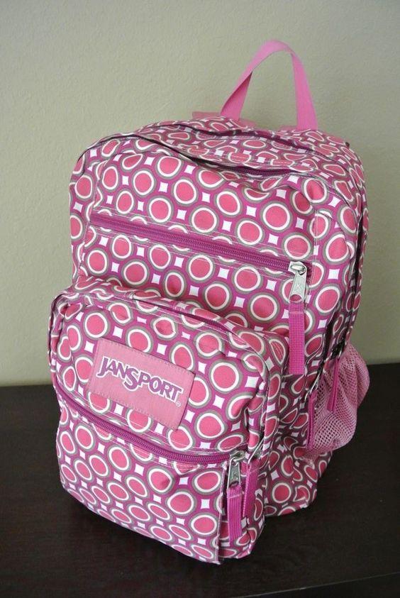 JanSport Big Kid Adult Bookbag Backpack EXCELLENT Pink Tan Brown ...