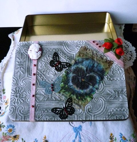 Shabby Chic Treasure Jewelry Storage Box Tin by HummingbirdCove, $30.00