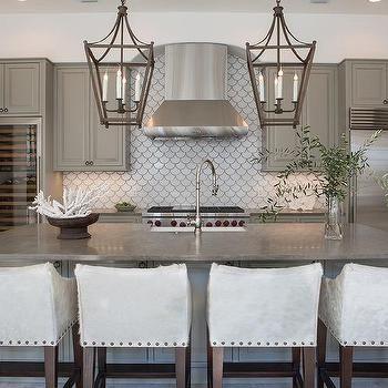 Gray Kitchen Cabinets With White Fan Tile Backsplash | K I T C H E N |  Pinterest | Grey Kitchen Cabinets, Gray Kitchens And Fans