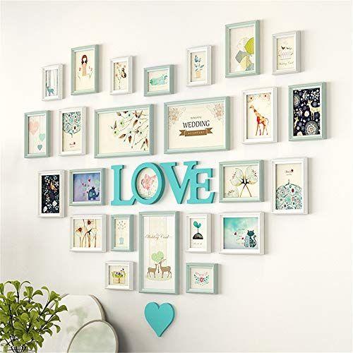 Oureong Photo Frame Wall Heart Shaped Photo Wall European Decoration Creative Love Bedroom Photo Frame Wall In 2020 Frames On Wall Frame Wall Collage Photo Wall Decor