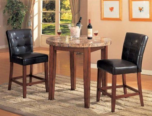 3pc Bar Pub Table Stools Set Dark Brown Finish Counter Height Dining Sets Dining Room Furniture Sets Counter Height Dining Table