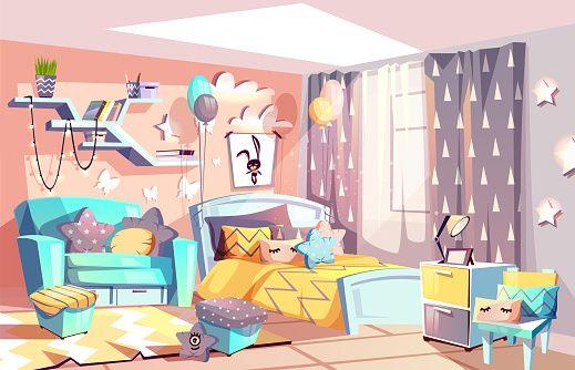 Kid Girl Room Or Bedroom Interior Vector Illustration Of Modern Cozy Interior Illustration Bedroom Drawing Scandinavian Furniture