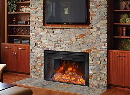 New Barton 26 Electric Fireplace Insert 3d Flame Stove Adjustable Flame Timer Heater Firebox Logs Remote Control Black Online Shopping In 2020 Wood Burning Fireplace Inserts Wood Heater Wood Fireplace Inserts
