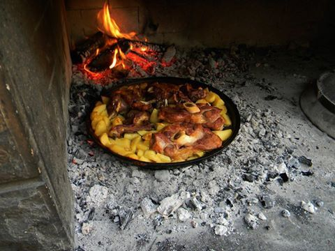 lamp and potatoes baking in the wood fired oven!!!