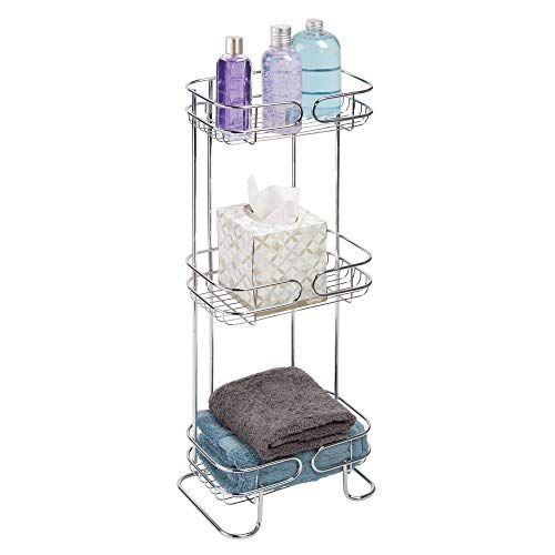 Mdesign Rectangular Metal Bathroom Shelf Unit Free Standing Vertical Storage For Organizing And Storing Hand Towels Bathroom Shelf Unit Metal Bathroom Shelf