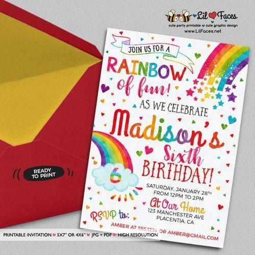 Colorful Rainbow Birthday Party Invitations Diy Rainbow