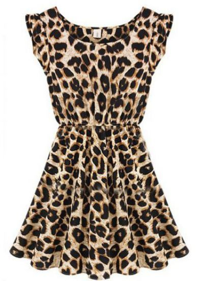 Animal Print Sleeveless Ruffles Pleated Chiffon Waist Dress