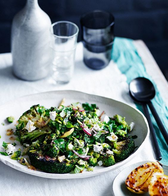 Char-grilled broccoli with feta and charred-lemon dressing recipe :: Gourmet Traveller