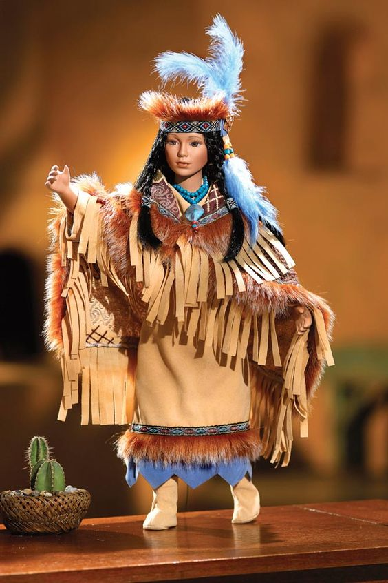 Collectable Native American Indian Kai Porcelain Doll In