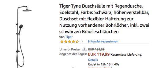 Tiger Tyne Duschsaule Mit Regendusche Schwarz Regendusche Duschsaule Duschset