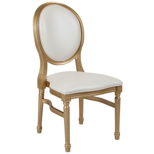 Hercules Series 900 Lb Capacity King Louis Chair With White Vinyl Back And Seat And Gold Fr Furniture Vinyl Upholstered Accent Chairs Round Back Dining Chairs