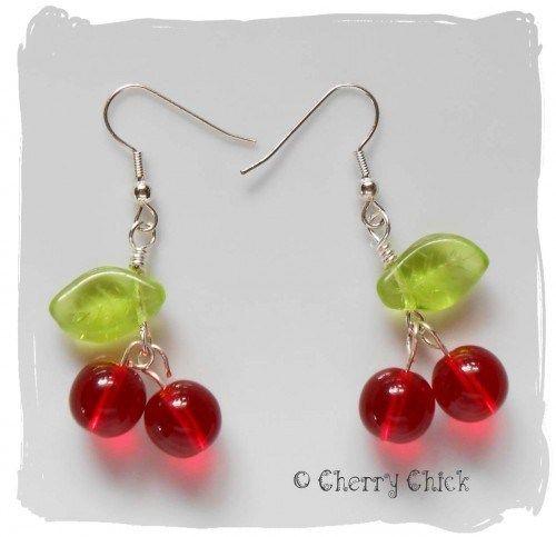 Very Cherry Glass Earrings Cherry Chick Jewelry on ArtFire.com $12 #Cherries #CherryEarrings #CherryJewelry #CherryChick