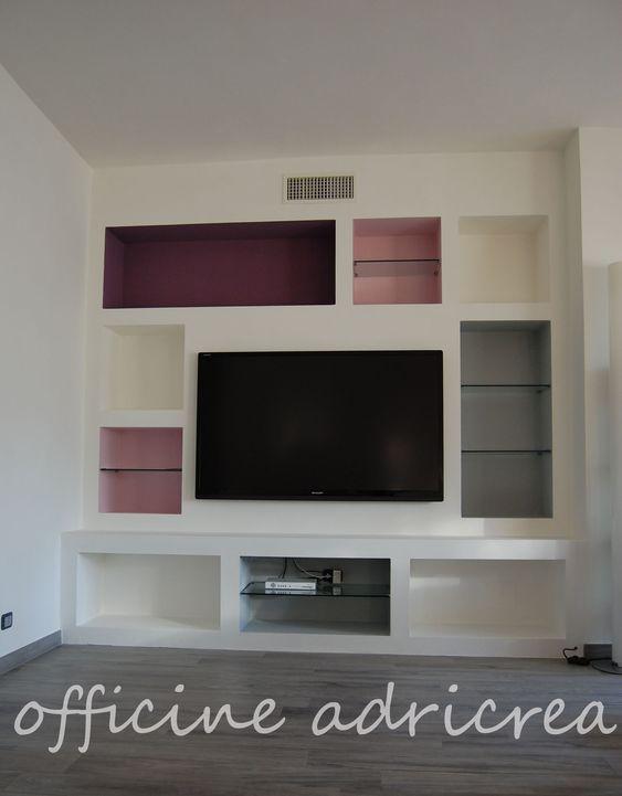 parete attrezzata in cartongesso  parete attrezzata e mobili decorati  Pinterest