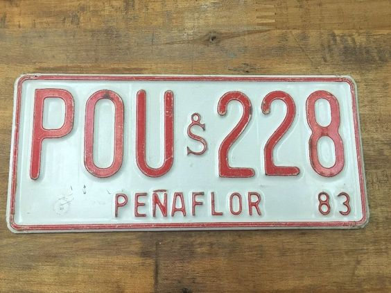 Chile License Plate 1983 Penaflor Pou 228 | eBay