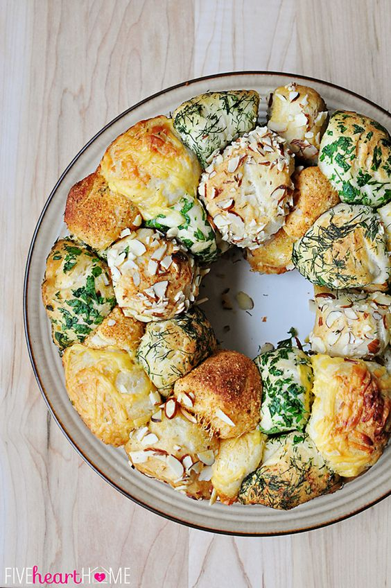 Savory Herb and Cheese Monkey Bread ~ quick and easy, made with refrigerated biscuits, festive for the holidays, from Thanksgiving to Christmas to Easter   {Five Heart Home}