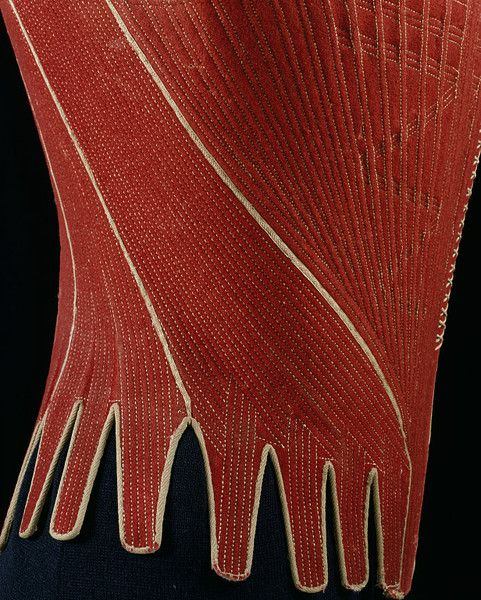 Detail, Stays, England, 1770-1780. Wool backed with linen.   Incredible handstitching outlines each of the channels for the thin whalebone stays.
