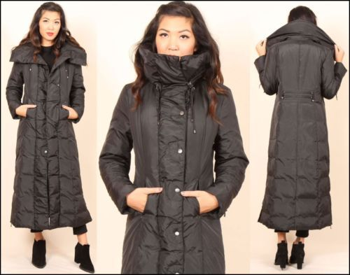 new black COLE HAAN quilted PUFFER feather down full length funnel